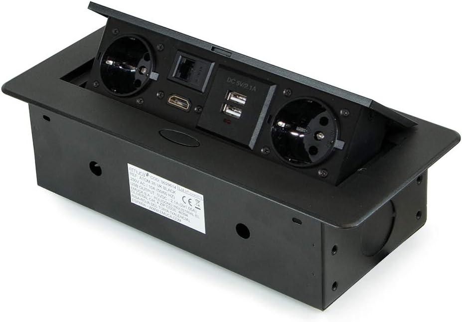 Emuca - Regleta multienchufe retráctil para empotrar en la Mesa, Base de enchufes multiconector (Enchufe EU Tipo F, USB, RJ45 y HDMI), 265x120mm, Negro: Amazon.es: Bricolaje y herramientas