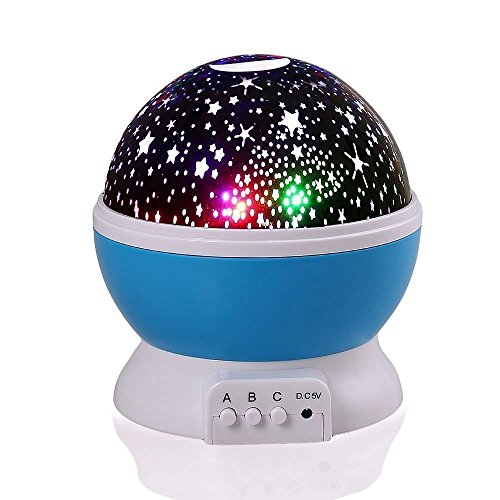 Baby Projector Night Light Lamp  Colorful Starry Sky Star Night Lights Rotating Projector With Usb Adapter  Kids Birthday Gift Lamp  Blue