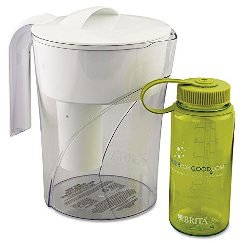 Brita 35391CT Classic Pour-Through Pitcher, 48oz, W/bonus 16oz Water Bottle, 4/carton (Pour Through Water Filter)