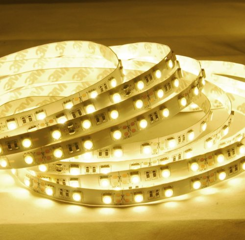 5 Chips Warm White Led - ABI Warm White High Brightness Flexible LED Light Strip, SMD 5050 LED Chips, 5 Meters / 16.4 FT Spool, 12VDC (Adapter Not Included)