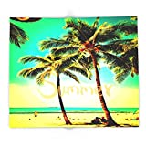 Society6 Green Yellow Vintage Palm Tree With Hawaii Summer Sea Beach 88'' x 104'' Blanket