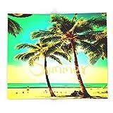 Society6 Green Yellow Vintage Palm Tree With Hawaii Summer Sea Beach 88'' x 104'' Blanket