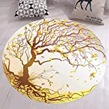 GIY Leaves Round Area Rugs Living Room Carpet Bathroom Mats Children Bedroom Rug Home Decorate Non-Slip Circular Runners 5' X 5'