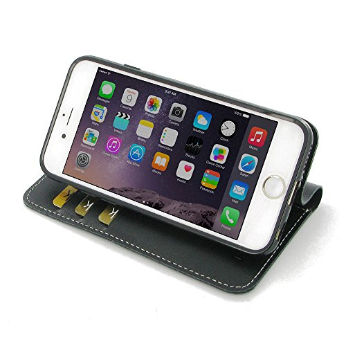 Apple iPhone 6 6s Case, Leather Case, Pouch, Holster, Wallet Case, Protective Case, Phone Case - Book Stand Wallet Case (Black) by Pdair