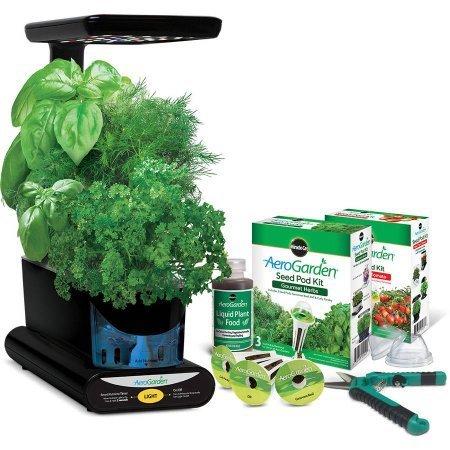 AeroGarden Miracle-Gro 12'' Sprout Plus with Gourmet Herbs Seed Pod Kit, Bonus Mighty Mini Tomato Seed Pod Kit and Gardening Shears by AeroGarden