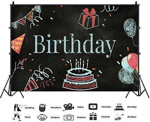 GoEoo 8x6.5ft Vinyl Birthday Photography Background Blackboard Birthday Cake Party Caps Balloons Gifts Chalk Drawing Illustration Backdrop Child Birthday Party Banner Anniversary Celebration