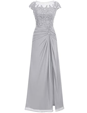 JAEDEN Simple Long Evening Dresses Chiffon Prom Dress Gown with Split Silver UK30