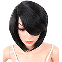 KRSI Short Pixie Cut Straight Bob Synthetic Wigs for Women Heat Resistant Costume African American Wigs with Bangs Natural Black Full Wigs That Look Real+Free Wig Cap (Black 2)