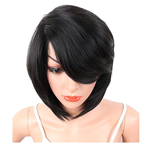 KRSI Short Pixie Cut Straight Bob Synthetic Wigs for Women Heat Resistant Costume African American Wigs with Bangs Natural Black Full Wigs That Look Real+Free Wig Cap (Black 2) by KRSI (Image #8)