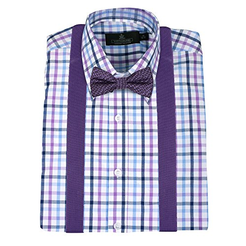 Vittorino Boys' Dress Shirt With Matching Bowtie and Suspenders Set, Purple, 7