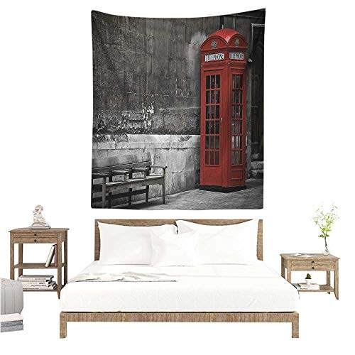 (WilliamsDecor Tapestry London Famous British Phone Boot in London Streets Important Icon of Town Urban Life Photo 57W x 74L INCH Suitable for Bedroom Living Room Dormitory)