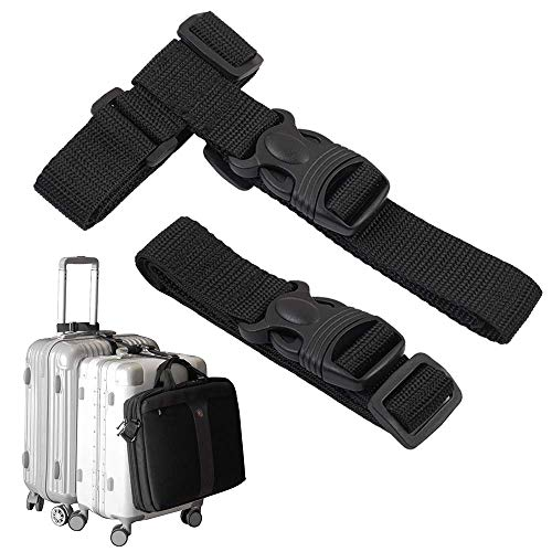- Luggage Straps,Two Add a Bag Suitcase Strap Belt,Adjustable Travel Attachment Accessories for Connect Your Three Luggage Together - 2 pack(Black)