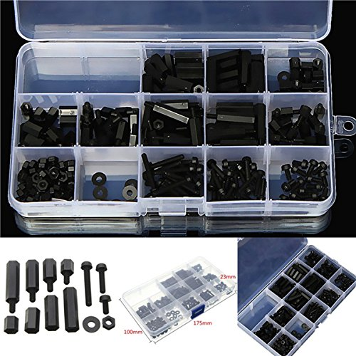 260pcs M3 Nylon nero Vite Esagonale Dado MF Stand-off Set assortimento Kit Box Yongse