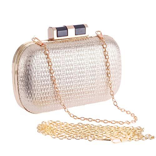 Pochette del Oro Banchetto cellulare Silver PU donna borsa donna borsa catena sera semplice telefono da borsa Clutch a Colore da moda da 01Pxqw0E