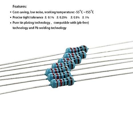 1ohm-10Mohm Pixnor 1120pcs 56 Values 14W 0.25W 1/% Metal Film Resistors Assorted Kit Set