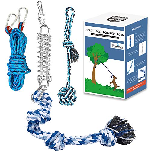 Spring Pole Dog Rope Toys: Dog Rope Pull & Tug of War Toy with a Big Spring Pole Kit & 2 Strong Dog Rope Toys & 16ft…