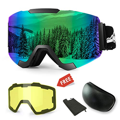 (Extra Mile Ski Snowboard Snow Goggles, Magnet Dual Layers Lens with 2 Modeling Lens, Anti-Fog UV400 OTG Protection Sports Ski Goggles Frameless Dual Lens for Men Women Youth Snowmobile Skiing Skating)