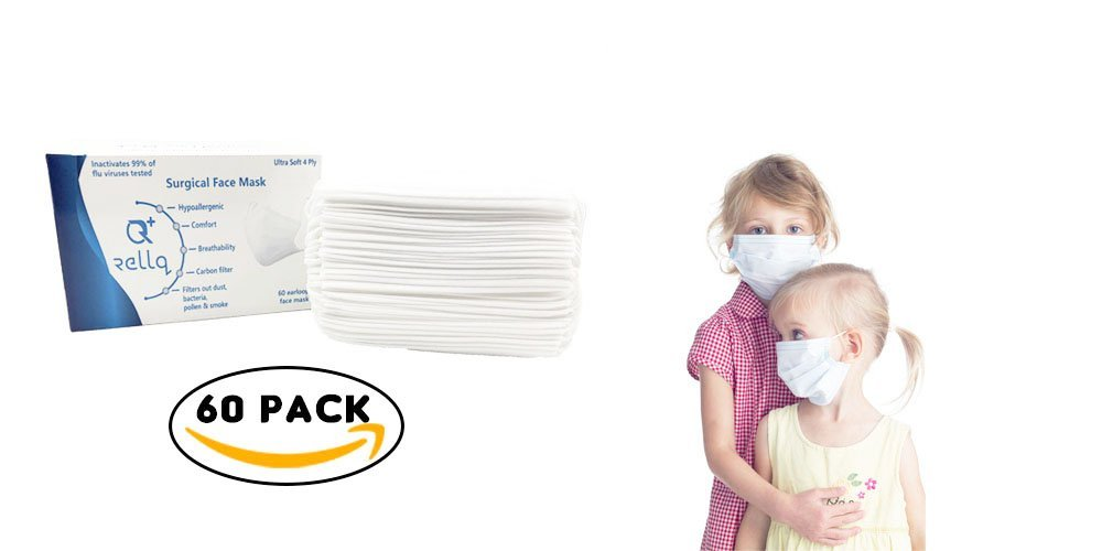 RellQ Disposable Earloop Surgical Mask Medical Dental Face Flu Mask for Kids, Premium Soft Four Layer, Hypoallergenic Immune System Protection, 60 PCS White