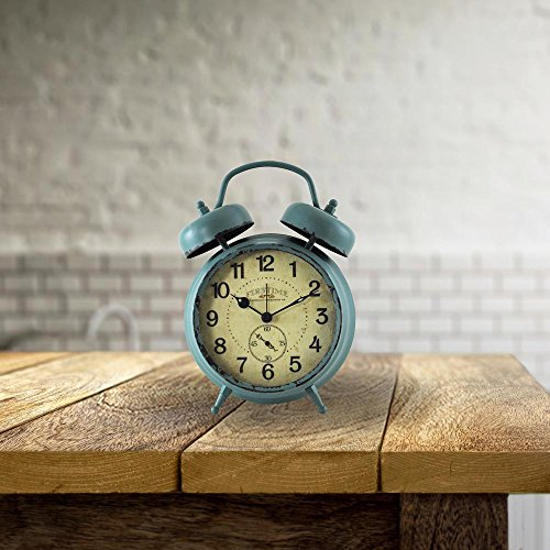 5 in. x 7 in. Teal Double Bell Table Top Clock by FirsTime