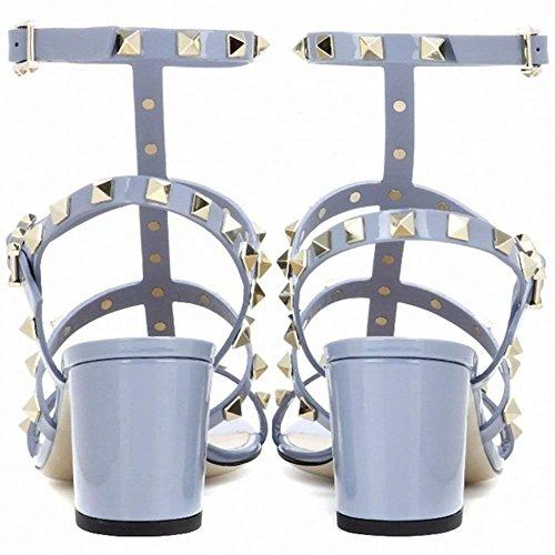 Alla 5cm Caitlin Pan Chunky Open Cinturino EU Heel Borchie Borchie Slide con Heels 45 Mid Block Donna Dress Caviglia Toe Slipper con Sandals Blu Patent 35 per Sandali wfFnwSCq