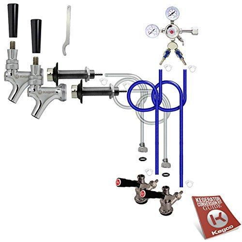 (Kegco BF 2SCK Standard Two Keg Door Mount Kegerator Beer Tap Conversion Kit, Chrome)