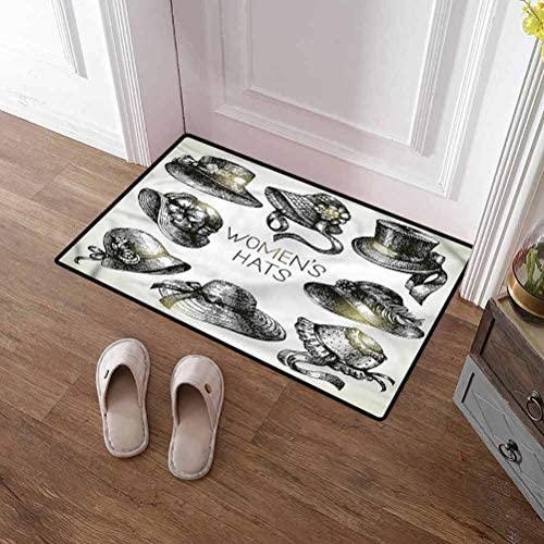 SCOCICI1588 Doormat Victorian, Vintage Woman Hats Non Slip Door Mats Perfect Color Sizing for Outdoor Indoor uses 35 x 59 Inch
