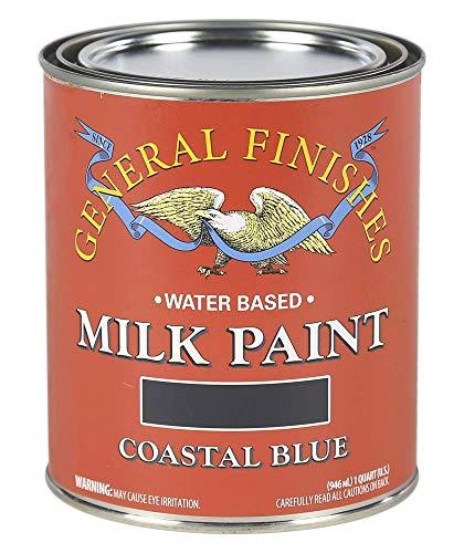 - General Finishes QCB Water Based Milk Paint, 1 Quart, Coastal Blue