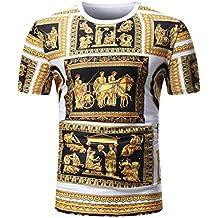 VIASA Fashion Men Summer Casual African Print O Neck Pullover Short Sleeve T-Shirt Top Blouse