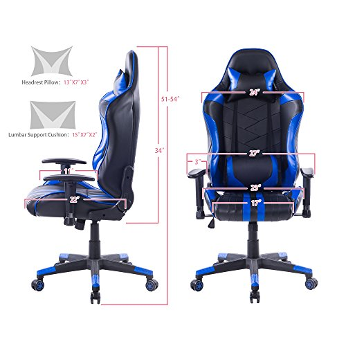 Killbee Large Size PVC Ergonomic Reclining Racing Chair Executive Office Chair with Headrest and Lumbar Support (Blue) by Killbee (Image #2)