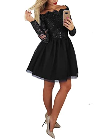 5b9e1b532dd16 Scarisee Women's Long Sleeves Beaded Lace Homecoming Dresses Short Mini  Prom Party Gowns Black 02