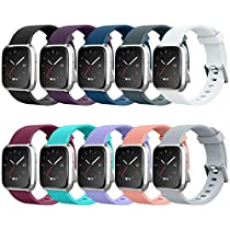 AIUNIT Bands Compatible for Fitbit Versa Smart Watch, Accessory Sport Bands Replcement Buckle Wristband Strap for Fitbit Versa Fitness Tracker Bracelet, Small Large Women Men