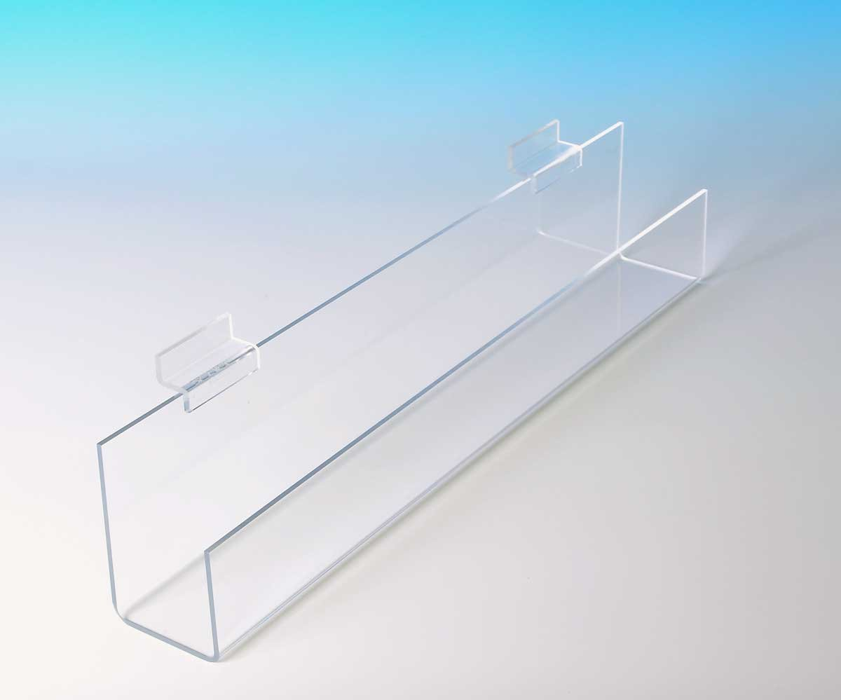 CHOICE ACRYLIC DISPLAYS Slatwall Angled J Shelf with Flat Bottom and Open Ends - Qty of 4 (ZQ12A: 2-1/2''H x 12'' W x 2-1/4''D)