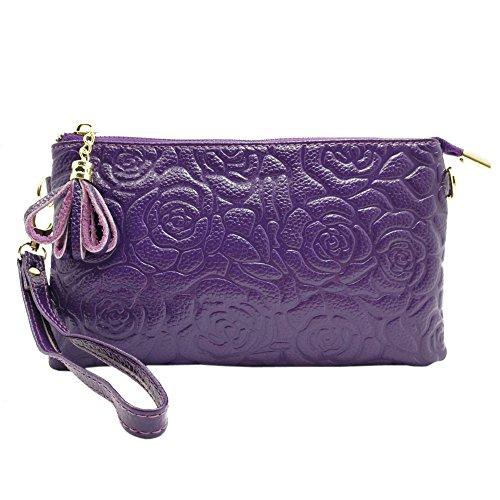 Sanxiner Leather Print Crossbody Purse Wristlet Wallet Clutch Ladies Wrist Bag (Purple)