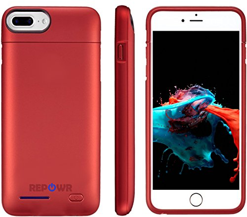 iPhone Battery Charger Case for Apple iPhone 8 Plus / 7 Plus / 6s Plus / 6 Plus - 4200mAh - Magnetic Protective Case - Portable + Slim with External Battery Rechargeable by REPOWR (Red)