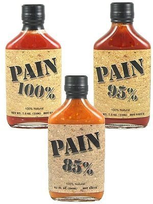 PAIN 100%, 95% and 85% Hot Sauce 3 Pack, (Pain 100% Hot Sauce)
