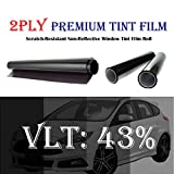 2PLY 1.5 mil Premium 43% VLT 30 In x 100 Ft (30 x 1200 Inch) Feet Uncut Roll Window Tint Film Auto Car Home