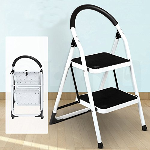 NEW 2 Step, Iron Portable Folding 3 Step Ladder Non Slip Safety Tread Stepladder Kitchen Home Use