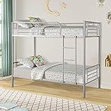 Merax Twin Over Twin Metal Bunk Bed (Silver.)