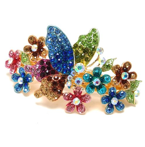 Crystal Gold Tone Metal - New Fashion Multi-color Austrian Crystal Gold Tone Metal Butterfly Hair Claw Clip