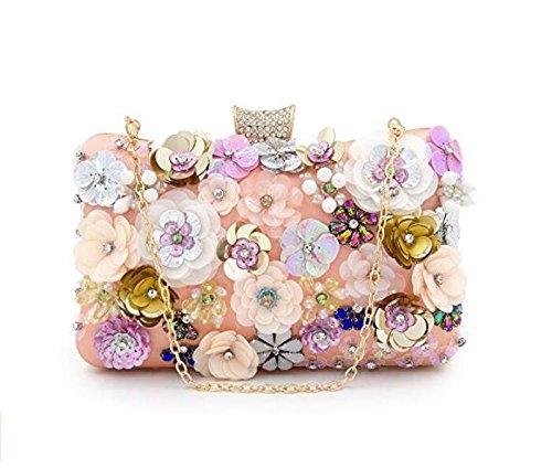 Clutch Colorful Evening NBWE Flower Clutches Handbag Satin Pinka Women Sequins Bag Evening Bqz6w