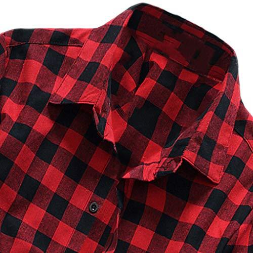 Polyester Chemises Shirts Grande Pour Hommes Bouton Bluestercool Treillis Casual Tees Classique Blouse Automne Rouge Polos Imprimé shirts Taille T 1 Plaid Printemps 5OxATq6wxz