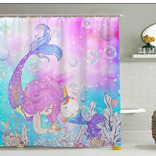 ZOEO Girls Mermaid Shower Curtain Unicorn Cat Fish Fabric Waterproof Large Window Bathroom Tub Curtains Sets Mermaid Home Decor 12 Hooks 72x72 inch