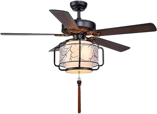TangMengYun Hogar Ventilador Techo Ventilador de Techo Luces de Sala de Estar Luces de Dormitorio 5 Linternas de Madera LED Mute Ventilador de Control Remoto con luz 70W: Amazon.es: Hogar