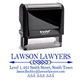 Business Self Inking Stamp Blue - Return Address Office Stamper - Custom Personalized Company Address - Large 4 Lines - Professional Company Branding