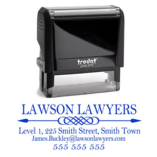 Business Self Inking Stamp Blue - Return Address Office Stamper - Custom Personalized Company Address - Large 4 Lines - Professional Company Branding by Pixie Perfect Stamps