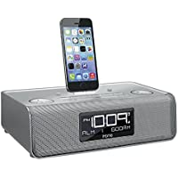 iHome iDL43S Dual Charging Stereo FM Clock Radio with Lightning Dock and USB Charge/Play - Silver (Certified Refurbished)
