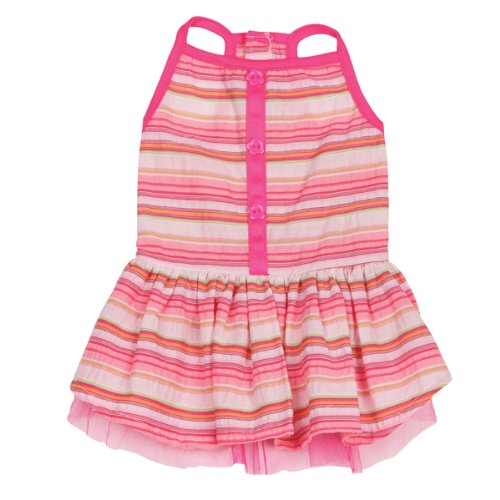 Zack & Zoey Cotton Striped 6-Inch Seersucker Dog Dress, Teacup, - Teacup Zoey