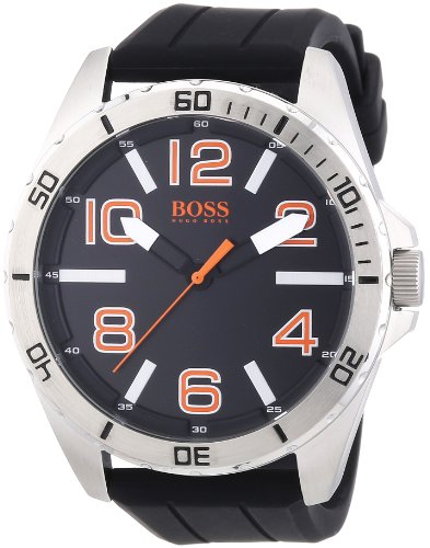 Hugo Boss Orange Black Dial SS Rubber Multi Quartz Men's Watch 1512943