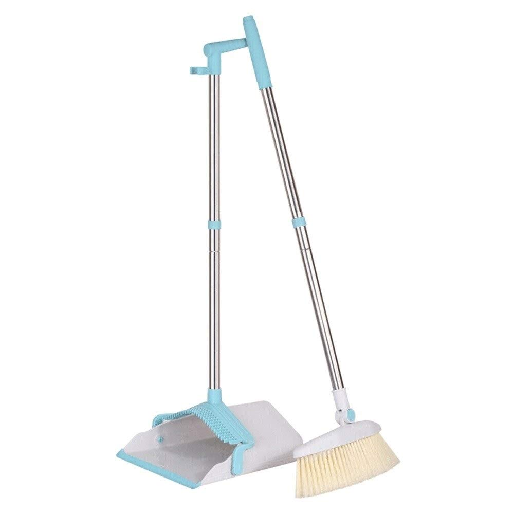 Windproof Stainless Steel Rod Non-stick Hair Broom And Dustpan Rotatable Non-Slip Handle Soft Brush Broom Set Suitable For Home Kitchen Lobby Floor Garden (Color : White) by HBKJ3