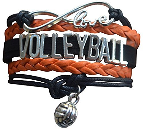 (Volleyball Charm Bracelet - Infinity Love Adjustable Charm Bracelet with Volleyball Charm for Volleyball Players)